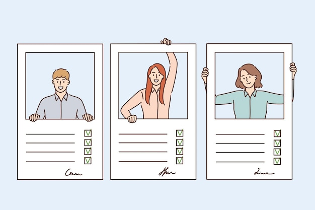 Currículo, questionário e conceito de preenchimento de formulários. perfis de jovens candidatos com placas e informações pessoais preenchidas em formulários de ilustração vetorial