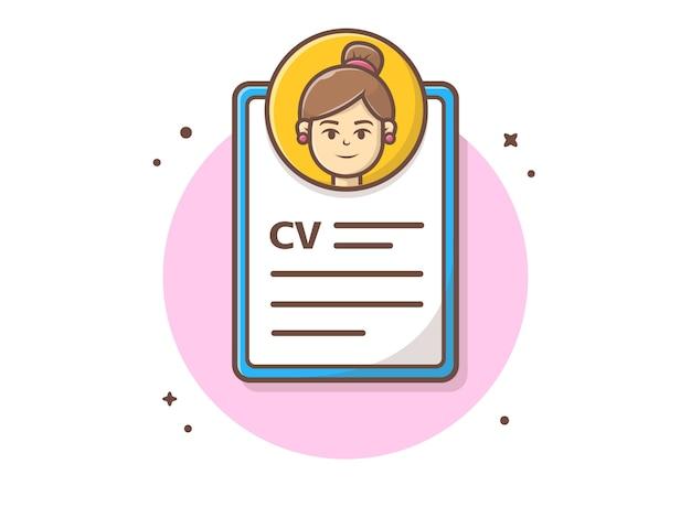 Curriculum vitae com ilustração em vetor personagem