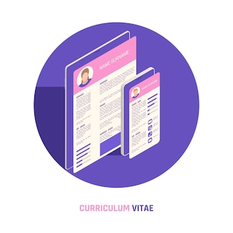 Curriculum vitae na tela do celular e tablet
