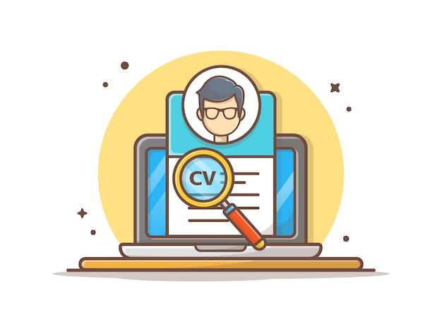 Curriculum vitae on-line com ilustração em vetor personagem