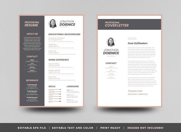 Curriculum vitaea cv currículo modelo de design ou detalhes pessoais para candidatura a emprego