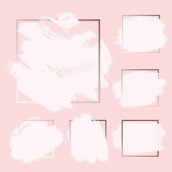Curso cor-de-rosa da tinta da pintura da escova do grunge do ouro de rosa com fundos quadrados do quadro ajustados.