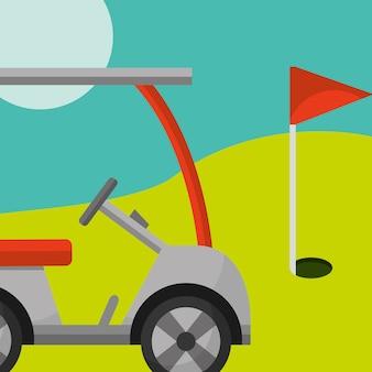 Curso da bandeira vermelha do carro do clube de golfe