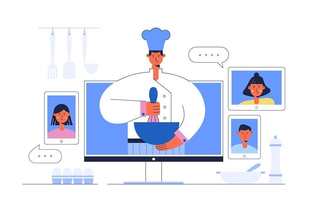 Curso de culinária online. receitas de vídeo com chef no monitor.