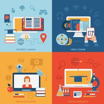 Curso de educação online e-learning conhecimento e-library leitura eletrônica