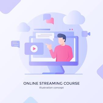 Curso de streaming on-line, aplicativo de treinamento em vídeo, player multimídia, design moderno de estilo cartoon plana.