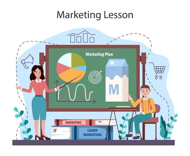 Curso escolar de educação em marketing. promoção de negócios e cliente