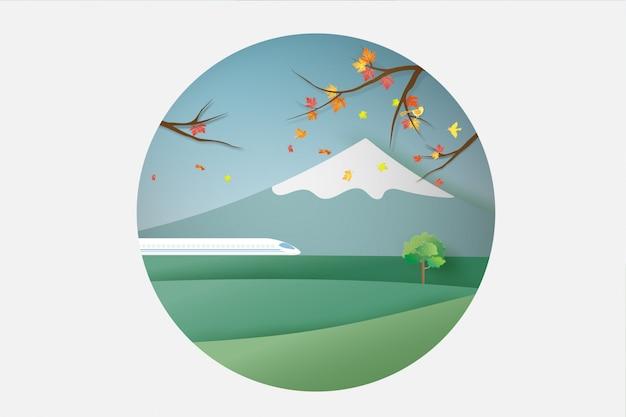 Curso japonês da paisagem em monte fuji.