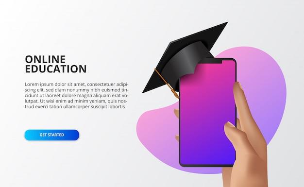 Curso online de conceito de ilustração com a mão segurando o telefone com chapéu de formatura