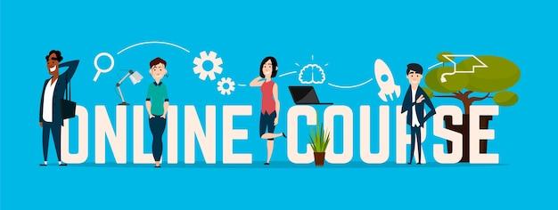 Curso online, pessoas em um fundo azul.