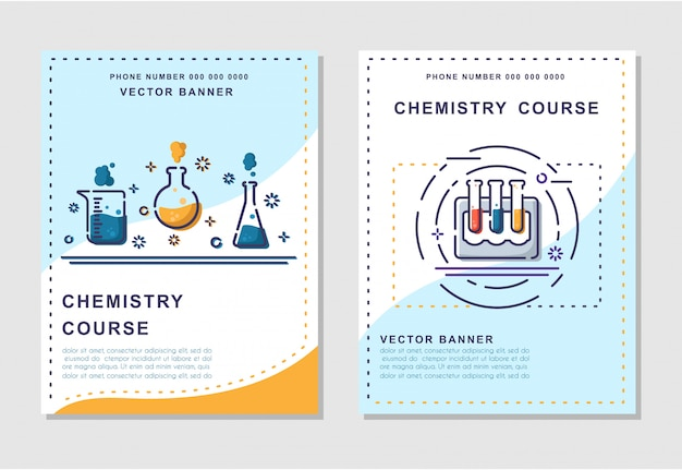 Curso ou lição de química - modelos informativos de pôsteres