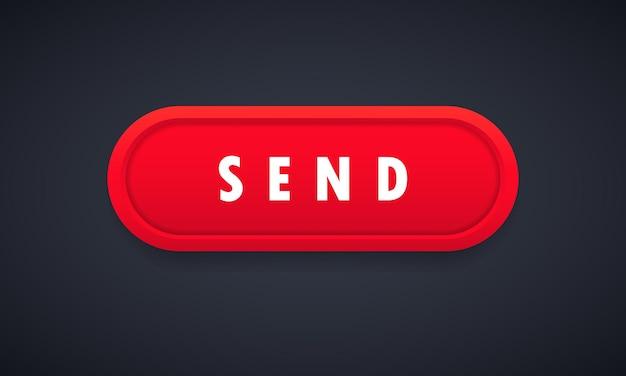 Cursor clicando no ícone do botão enviar. conceito de mídia social. vetor em fundo branco isolado. eps 10.