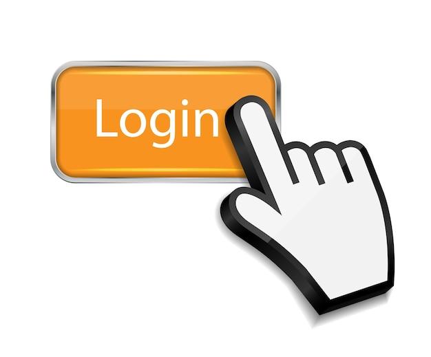Cursor do mouse com a mão na ilustração vetorial do botão de login