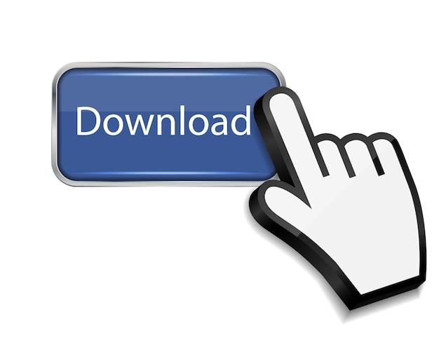 Cursor do mouse na ilustração vetorial do botão de download