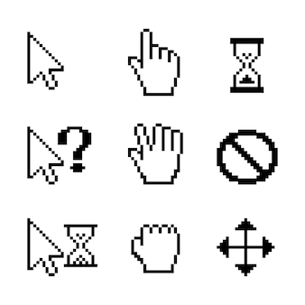 Cursores do mouse de pixel do vetor sobre o branco: ponteiro de seta para arrastar com a mão