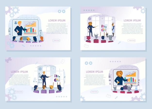 Cursos de educação de negócios vector web banners set