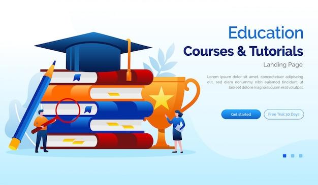 Cursos de educação e tutoriais modelo de plano de ilustração de site de página de destino