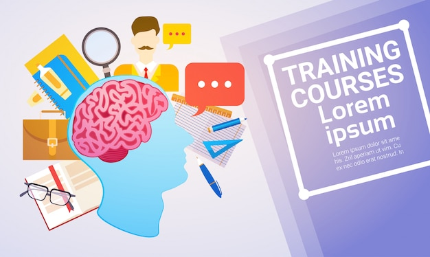 Cursos de formação educação online banner web de aprendizagem