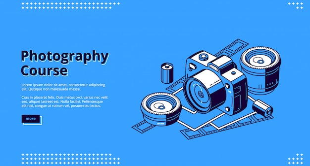 Cursos de fotografia, aulas web isométrica