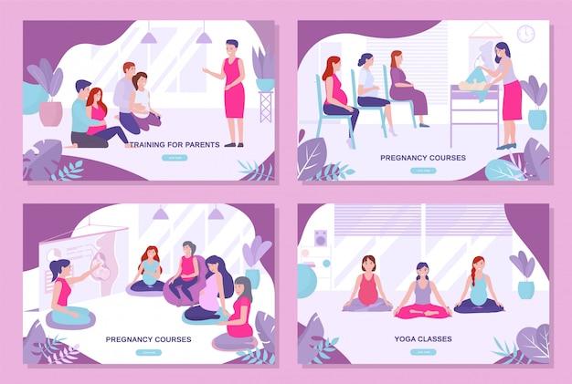 Cursos de gravidez, treinamento dos pais, conjunto de páginas de destino de aula de ioga.
