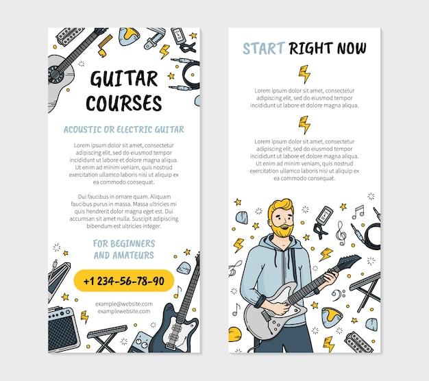 Cursos de guitarra ou panfleto da escola de música no estilo doodle