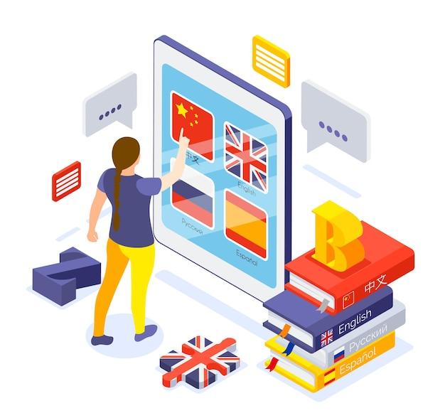 Cursos de idiomas on-line de composição isométrica com uma mulher escolhendo o aplicativo chinês na tela do tablet