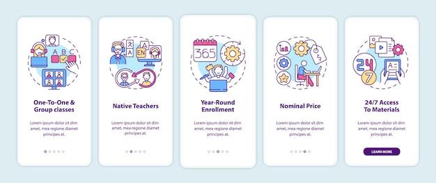 Cursos de idiomas online beneficiam a tela da página do aplicativo móvel com conceitos