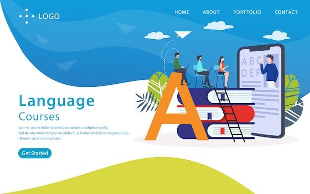 Cursos de línguas landing page, modelo de site, fácil de editar e personalizar, ilustração vetorial