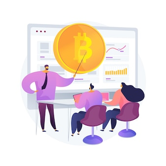 Cursos de negociação de criptomoedas ilustração do conceito abstrato