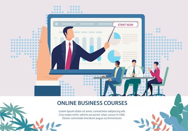 Cursos de negócios on-line de inscrição cartaz brilhante.
