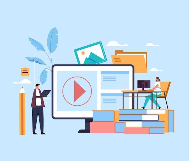 Cursos de tutorial de aulas de educação de internet online web estudando o conceito.