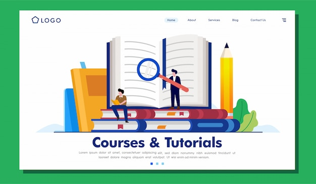 Cursos e tutoriais landing page website illustration