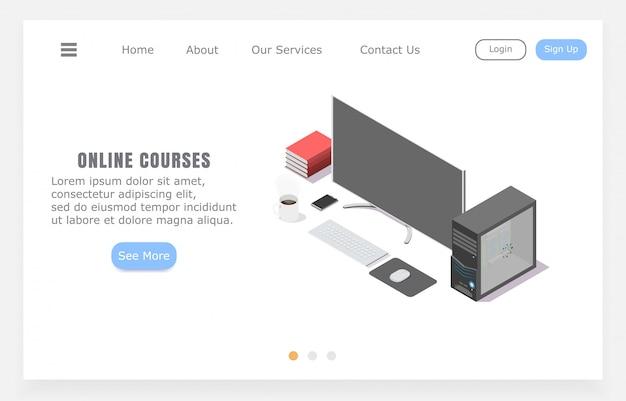 Cursos on-line da landing page, conceito de ensino a distância