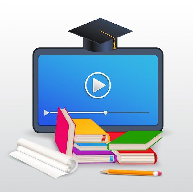 Cursos on-line, e-learning, educação, treinamento a distância com tablet, livros, livros didáticos, lápis e chapéu de formatura isolado no branco