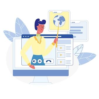 Cursos on-line, ilustração plana de classes