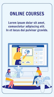 Cursos on-line, layout de folheto de vetor de universidade