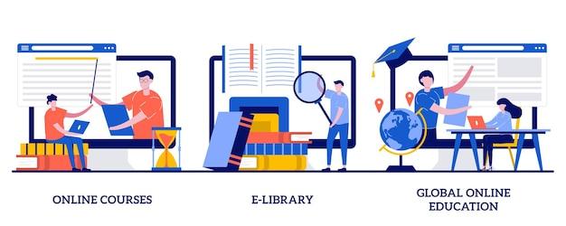 Cursos online, biblioteca eletrônica, conceito de educação online global com pessoas minúsculas. conjunto de ferramentas de e-learning. diploma de certificado, acesso ao armazenamento de conteúdo, aprendizagem individual.