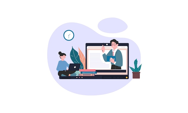 Cursos online e tutoriais ilustração conceito fundo