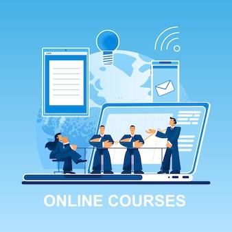 Cursos online pessoas pequenas no laptop