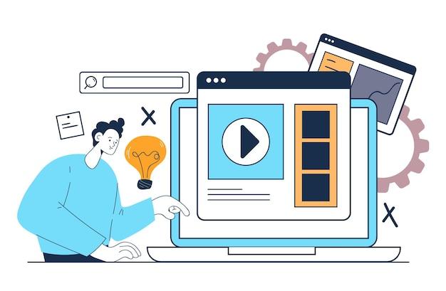 Cursos tutoriais de aulas de educação online na web, estudando o conceito