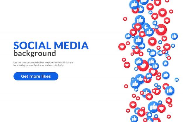 Curtidas e polegar para cima emoji na visualização de aterrissagem para mídias sociais.
