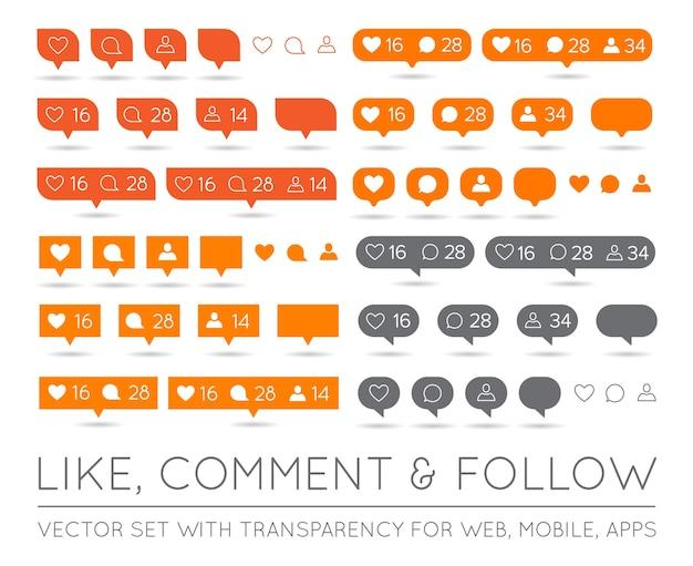 Curtir, seguidor, conjunto de ícones de comentários