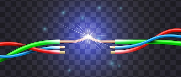 Curto-circuito realístico pelo exemplo de uma interrupção de três fios no isolamento multicor