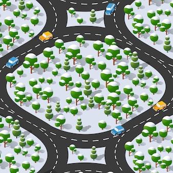 Curva de estrada de rodovia suburbana. vista isométrica da projeção de uma paisagem de inverno.