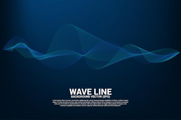 Curva de linha de onda de som azul sobre fundo escuro