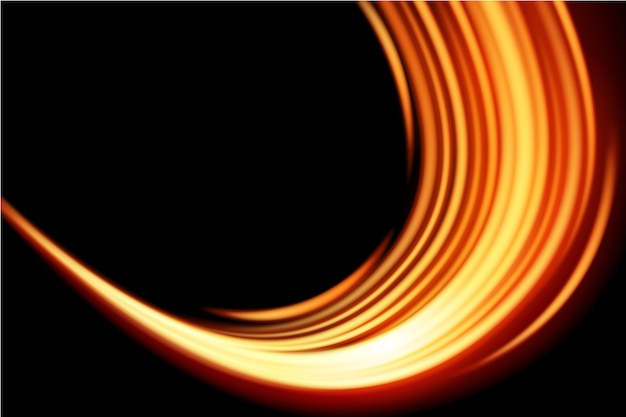 Curva de luz efeito brilhante sobre fundo preto