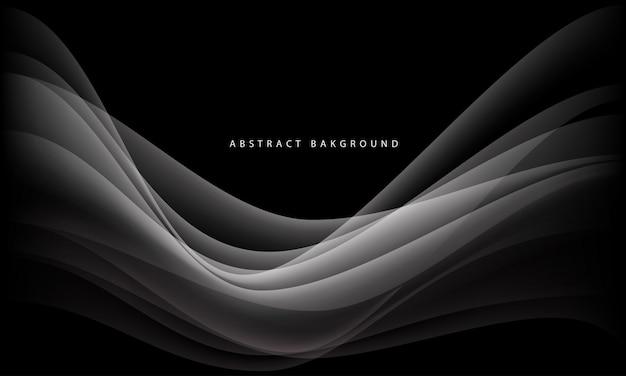 Curva de onda de fumaça branca com texto simples sobre fundo preto de luxo.