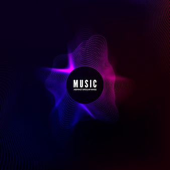 Curva de onda sonora radial. visualização de equalizador colorido. capa colorida abstrata para cartaz de música e banner. fundo