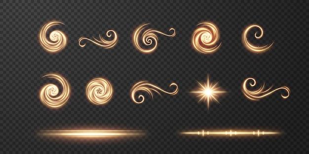 Curva realista clara. efeito de brilho dourado. linha de luz.
