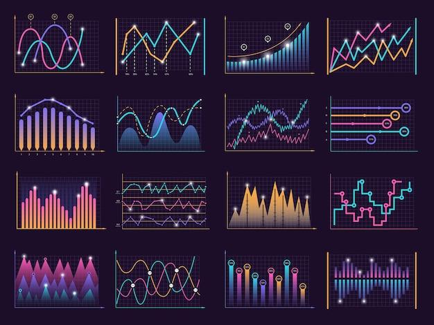 Curvas de gráficos de linha. vetor crescimento negócios gráfico informações colunas verticais modelo de dados vetor infográfico elementos